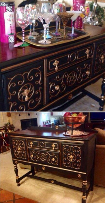 beautiful antique buffet painted  annie sloan black