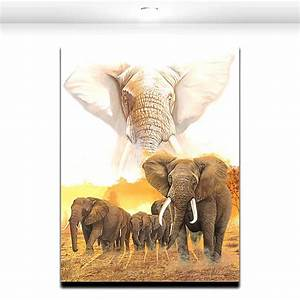 2017 African Giant Wild Elephant Group Oil Paint Canvas ...