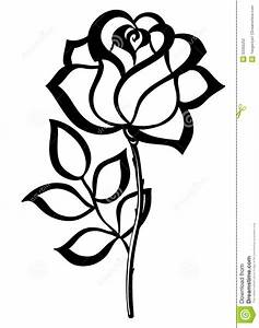 simple rose outline | Simple Single Rose Outline Black ...