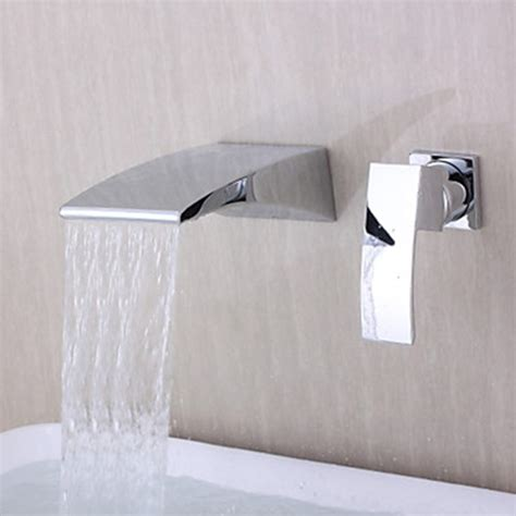 kohler wall hung faucet contemporary wall mounted waterfall chrome finish curve