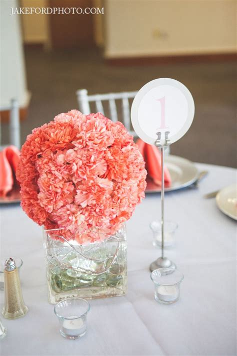 Coral Carnation Ball Centerpiece Modern Coral And Gray