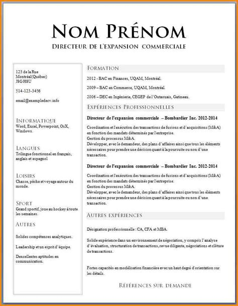 Cv Exemple Simple by Cv Curriculum Vitae Exemple Cv Francais Simple Lusocarrelage