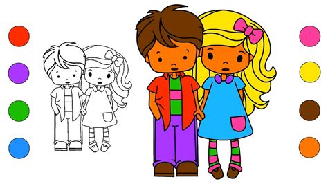 school girl  boy coloring pages coloring book drawing