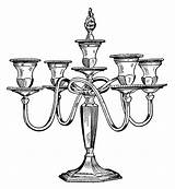 Candle Clipart Clip Candelabra Holder Antique Fashioned Candles Drawing Printable Illustration Cliparts Ornate Victorian Printables Holders Library Illustrations Birthday Olddesignshop sketch template