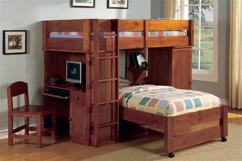 bed and desk set twin over twin loft bunk bed set lars oak