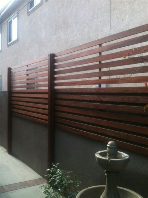 redwood privacy screen modern exterior orange county