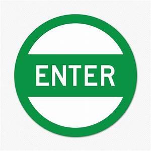 Enter Here Sign Green Enter Sign Sticker Genius