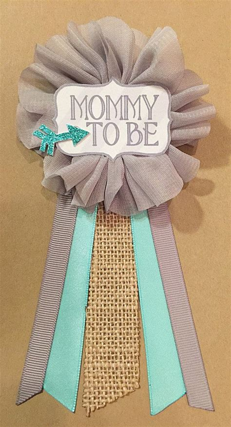 Baby Shower Pins For Corsages Baby Shower Gray Teal Arrow Burlap Baby Boy Shower Pin
