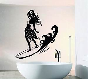 cool girl standing on surfboard wall stickers home With nice surfboard wall decals