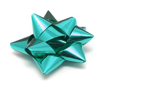 Photo Of Ornate Cyan Bow For Gift Wrapping Free
