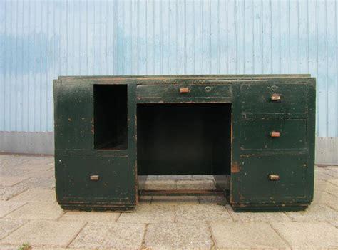bureau industriel vintage industriel houten kubistisch bureau