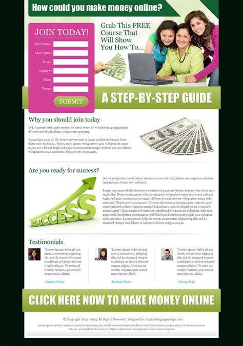 money  landing page design templates  earn money