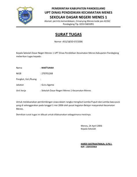 Contoh Surat Tugas Karyawan by Contoh Surat Tugas Terbaru Yang Baik Dan Benar