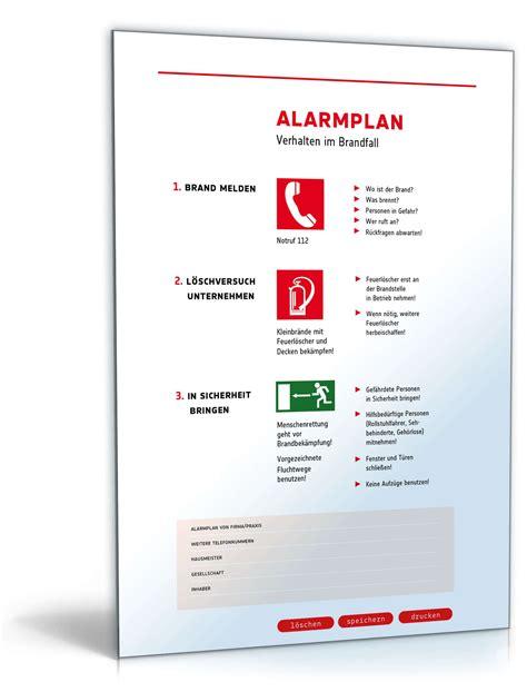piktogramm alarmplan vordruck zum