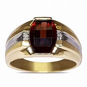 01ct diamond garnet mens ring in 10k yellow gold with a With mens garnet wedding ring