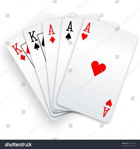 poker hand full house  aces stock vector
