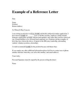 personal reference letter   friend examples