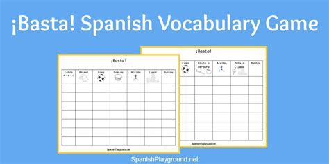 Basta Game for Spanish Vocabulary Practice   Spanish