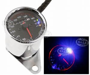 Motorbike Led Background Light Dual Odometer Speedometer Gauge Universal 12v