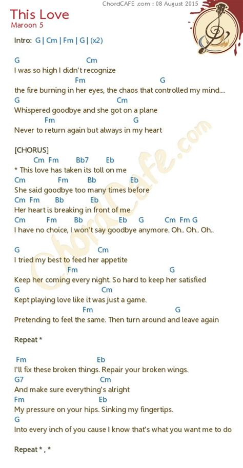 maroon 5 this love chord คอร ด this love ร ปภาพ download chordcafe