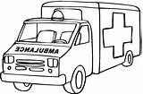 Ambulance Cartoon Cliparts Coloring Pages Easy Emergency sketch template
