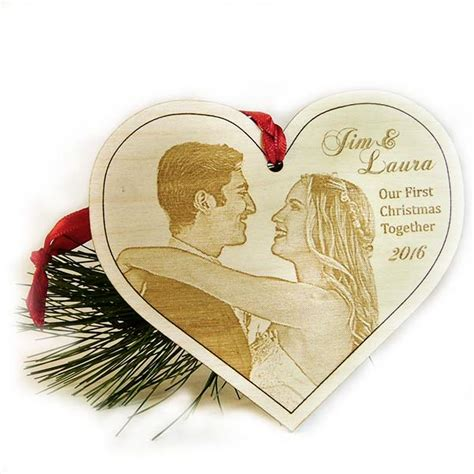 christmas ornament laser engraved wood photo