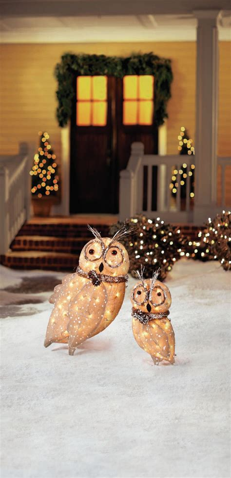 home accents holiday pre lit burlap owl family set