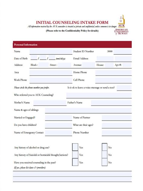 initial intake form initial counseling forms 5 free documents in word pdf