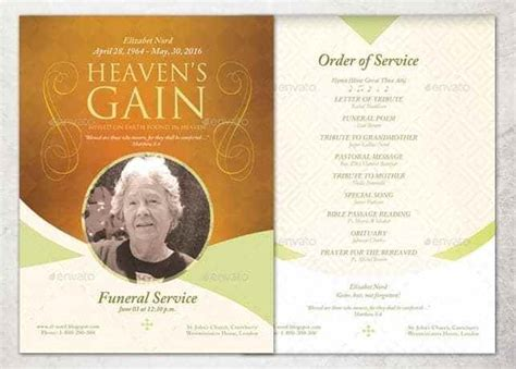 funeral program template word excel formats