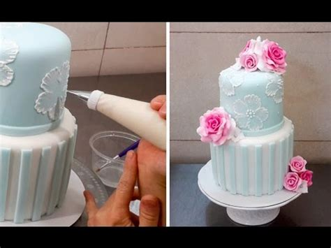 brush embroidery cake  royal icing  cakes stepbystep