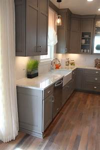 grey cabinets with white marble counters! Love the wood