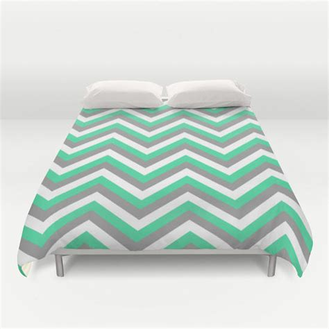 mint green white and grey chevron duvet from society6 home