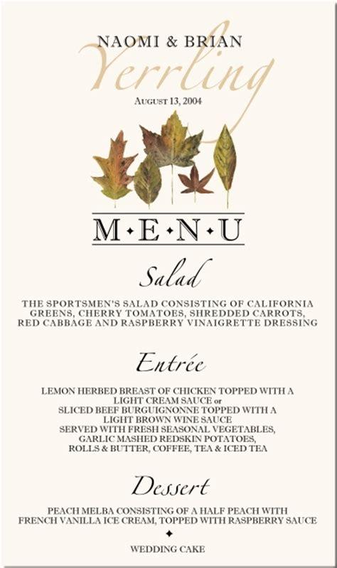 fall wedding menu cards autumn theme wedding menu cards