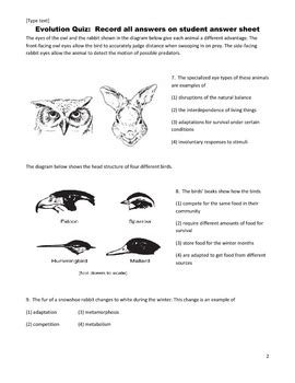 middle school science quiz evolution natural selection adaptation
