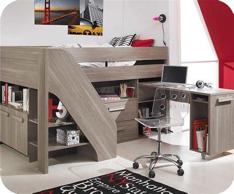 armoire de rangement bureau lit enfant mi hauteur auckland chêne cerisé 90x200 cm avec