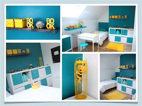 chambre bleu et jaune chambre enfant
