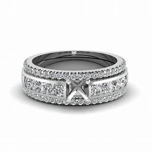 heart bridal trio set with black diamond in 14k white gold With wedding ring settings without diamonds