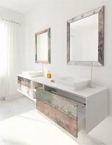 meuble vasque salle de bain en bois patine et blanc mat With meuble salle de bain ceruse