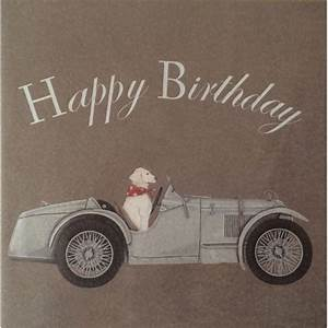 Birthday card Vintage car birthday card Vintage Pink
