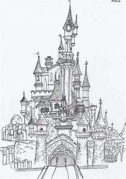 Castle Disney Disneyland Paris Drawing Coloring Sketch