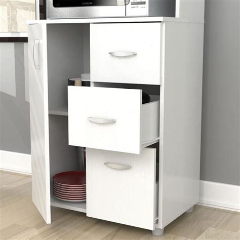 New Tall Kitchen Microwave Cart White Utility Cabinet