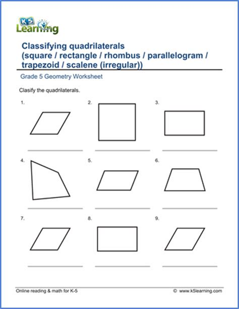 grade  geometry worksheets quadrilaterals  learning