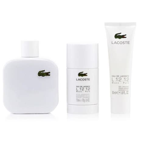 lacoste l 12 12 blanc white perfume gift set for lacoste l 12 12 blanc perfume 100ml edt