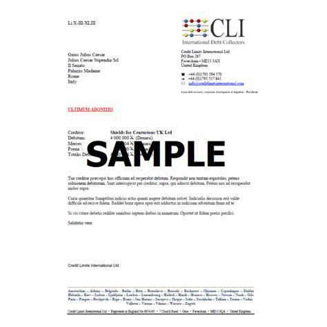 debt collection letter credit limits international