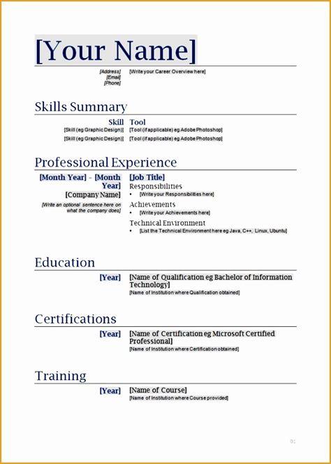 Blank Curriculum Vitae by 7 Free Curriculum Vitae Blank Template Free Sles