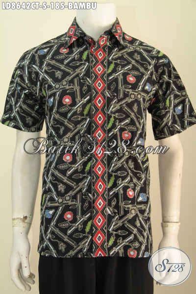 baju batik pria muda motif bambu kemeja keren dan modis