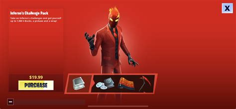 fortnite infernos skin challenge pack  worldwide