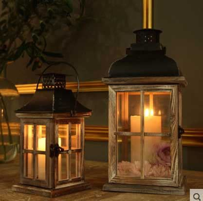 glass wooden retro lantern windproof table candle holder