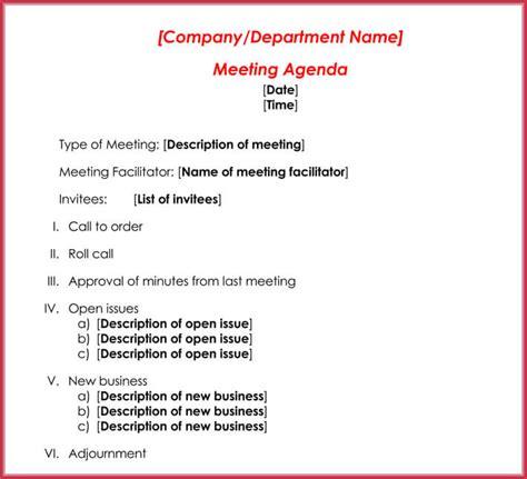 create  formal meeting agenda  templates
