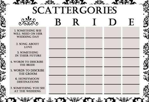 vintage wedding program template bridal shower scattergories simran 39 s space
